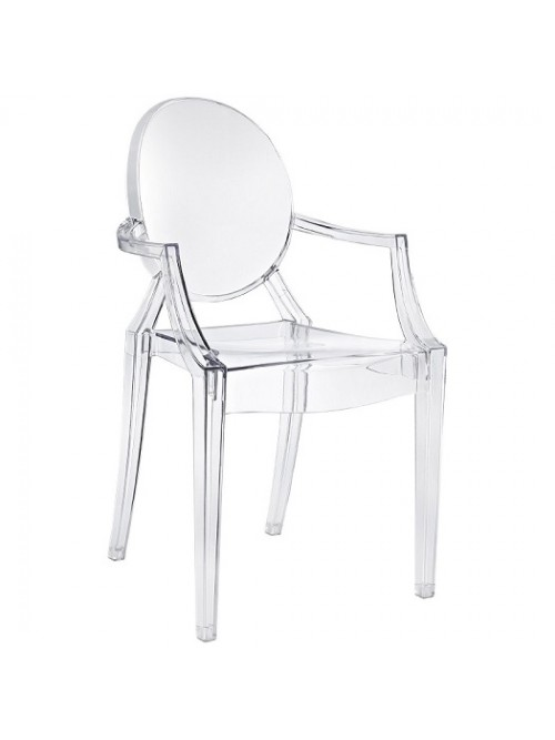 Louis Style Ghost Dining Armchair Clear Color