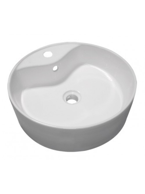 18.5 Inch Round Porcelain Ceramic Single Hole Countertop Bathroom Vessel Sink