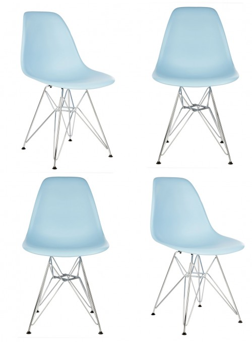 Set of 4 DSR Molded Light Blue Plastic Dining Shell Chair with Steel Eiffel Legs