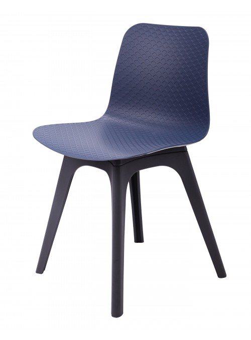Hebe Series Navy Dining Shell Side Chair Molded Plastic Black Legs