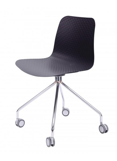 Hebe Series Black Office Chair Molded Plastic Designer Task Chair