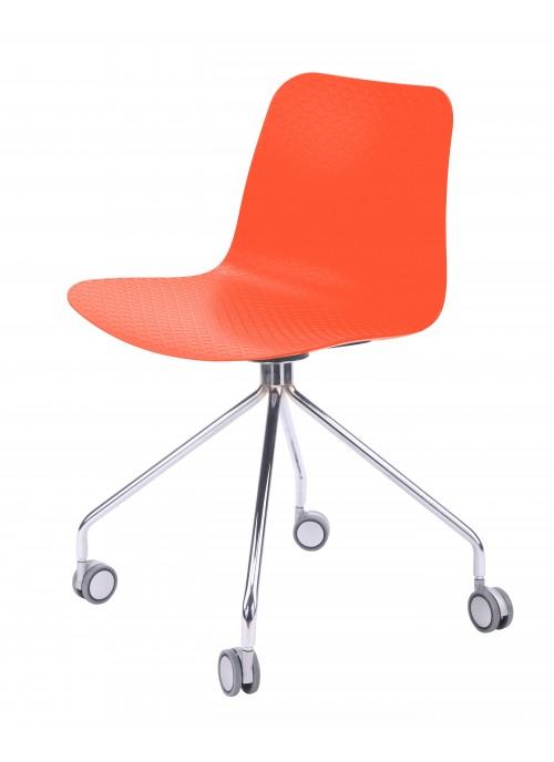Hebe Series Orange Office Chair Molded Plastic Designer Task Chair