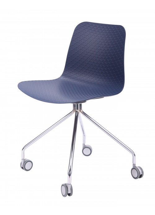 Hebe Series Navy Office Chair Molded Plastic Designer Task Chair