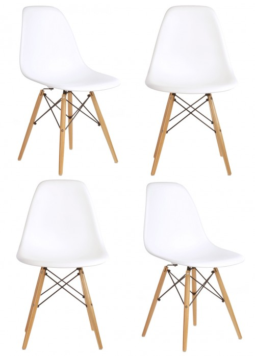 Set of 4 Eames Style DSW Molded White Plastic Dining Shell Chair with Wood Eiffel Legs