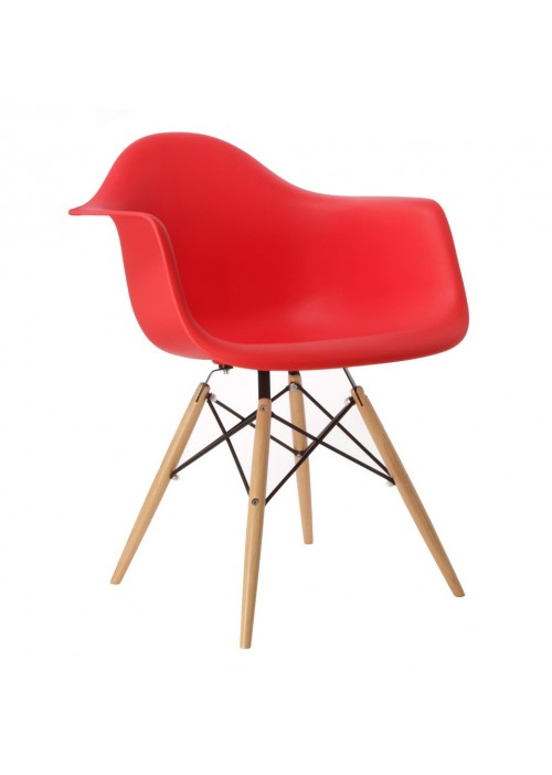 Eames Style DAW Molded Red Plastic Dining Armchair with Wood Eiffel Legs