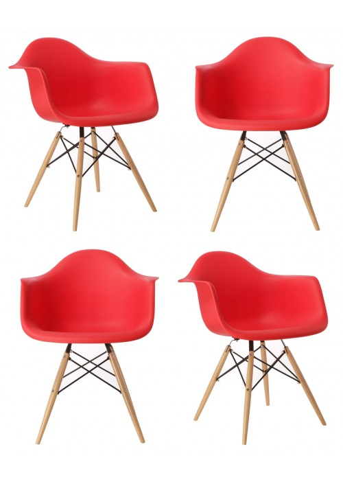 Set of 4 Eames Style DAW Molded Red Plastic Dining Armchair with Wood Eiffel Legs