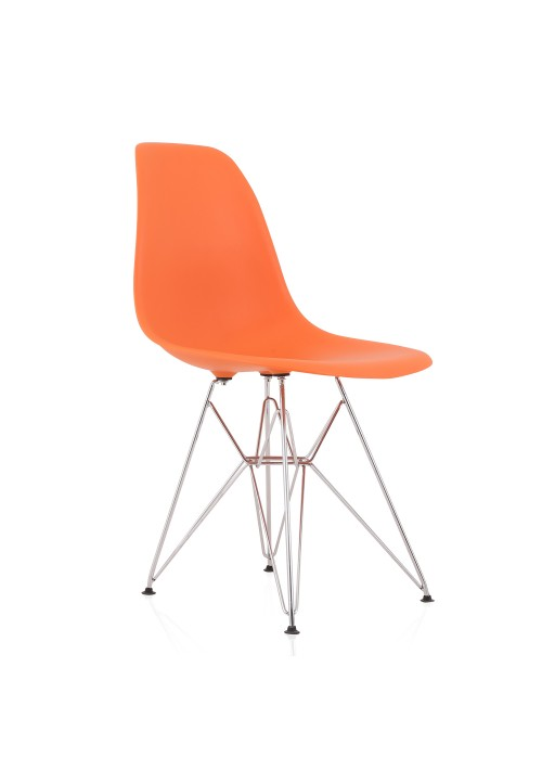 DSR Molded Orange Plastic Dining Shell Chair with Steel Eiffel Legs