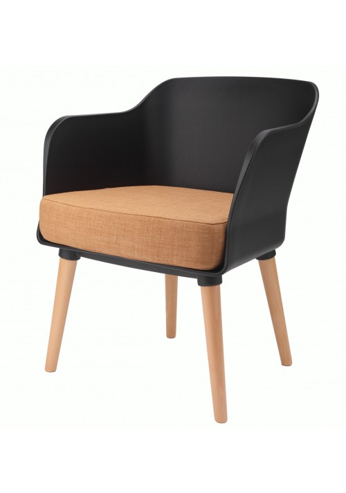 Cali Modern Accent Armchair Black with Orange Cushion