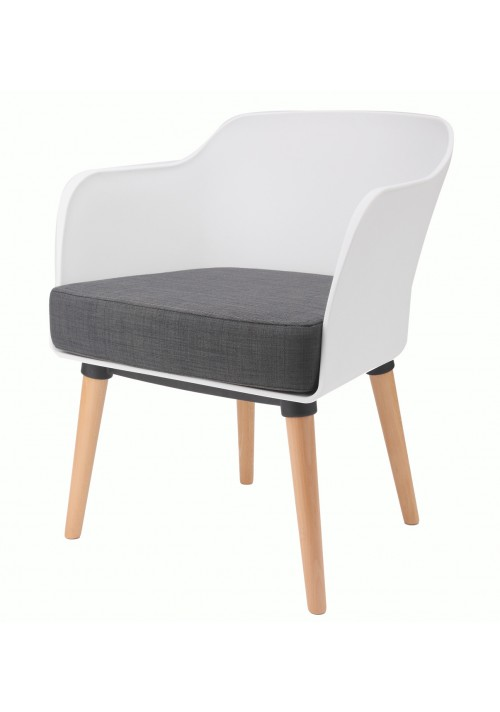 Cali Modern Accent Armchair White with Gray Cushion