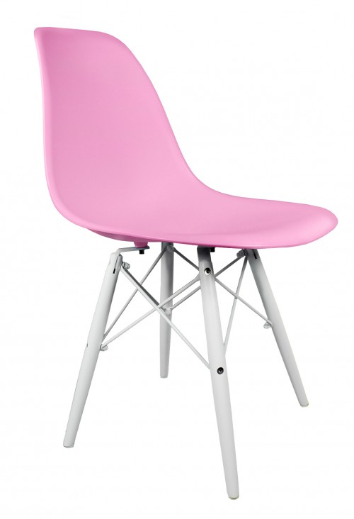 Pink DSW Molded Plastic Dining Shell Chair with White Wood Eiffel Legs