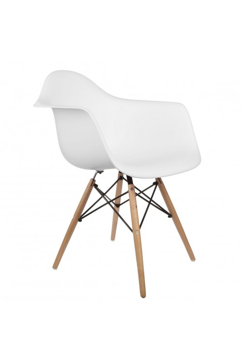 Eames Style DAW Molded White Plastic Dining Armchair with Wood Eiffel Legs