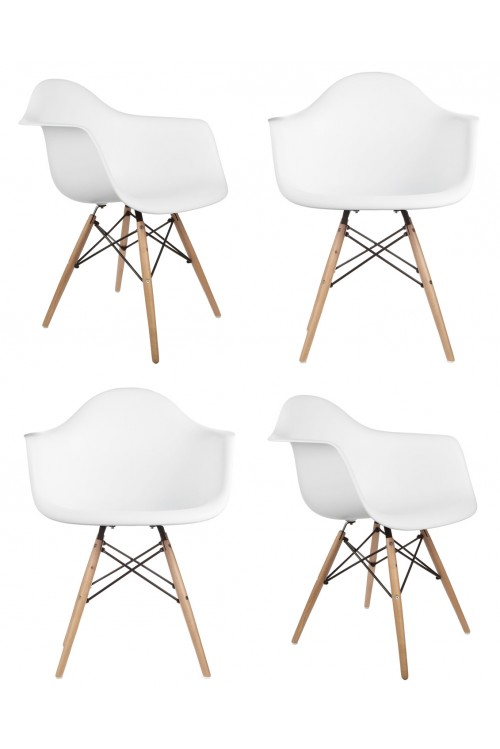 Set of 4 Eames Style DAW Molded White Plastic Dining Armchair with Wood Eiffel Legs