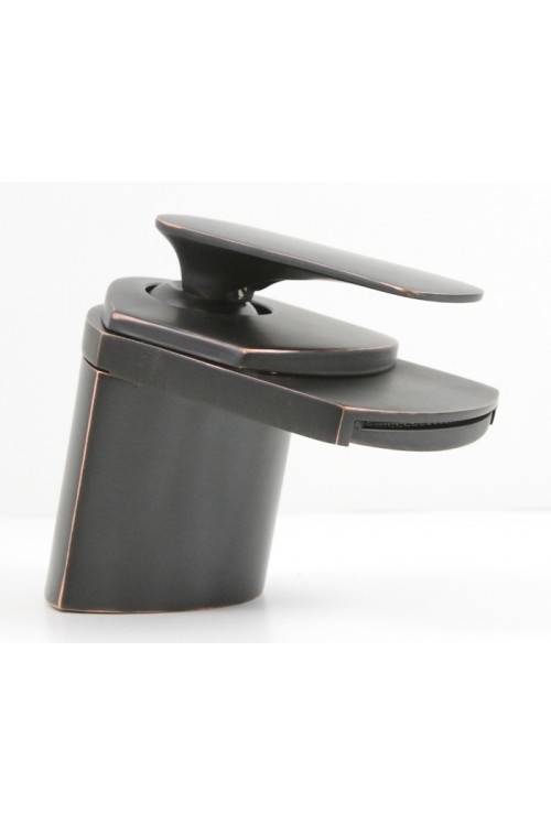 Contemporary Waterfall Flat Spout Single Hole Bathroom Faucet Venetian Bronze Finish