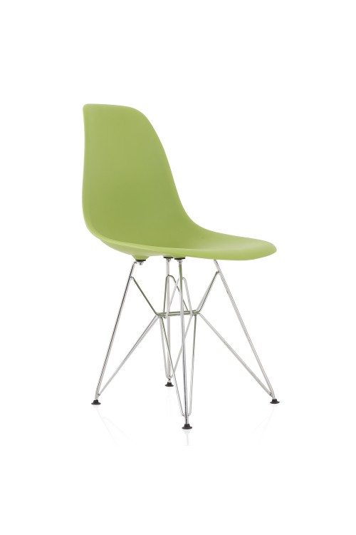 Eames Style DSR Molded Lime Green Plastic Dining Shell Chair with Steel Eiffel Legs
