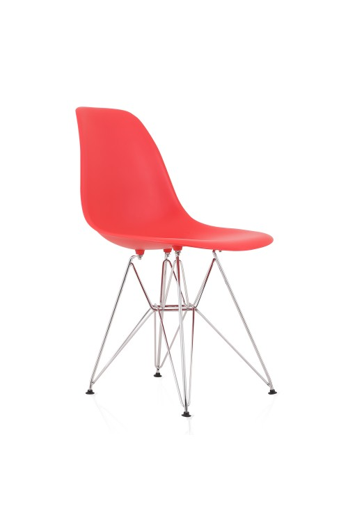 DSR Molded Red Plastic Dining Shell Chair with Steel Eiffel Legs