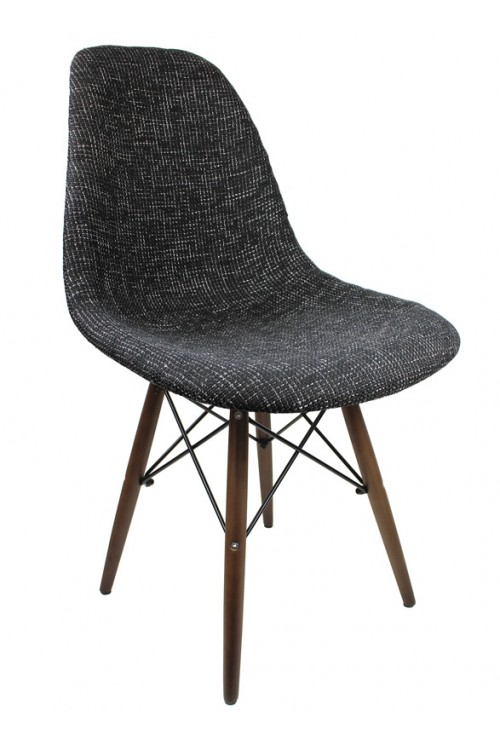 Black Fabric Upholstered Eames Style Accent Chair with Dark Walnut Wood Eiffel Legs