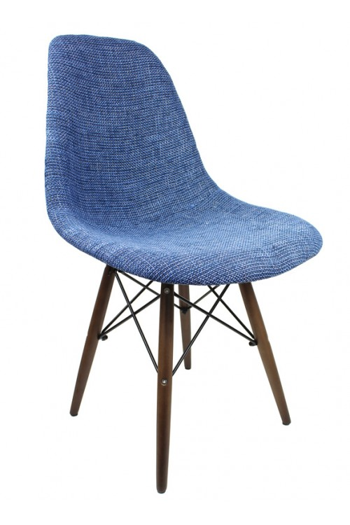 Blue Fabric Upholstered Eames Style Accent Chair with Dark Walnut Wood Eiffel Legs