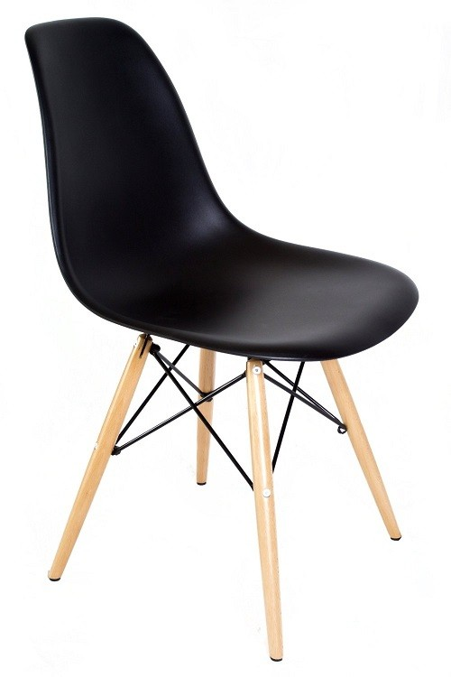 DSW Molded Black Plastic Dining Shell Chair with Wood Eiffel Legs