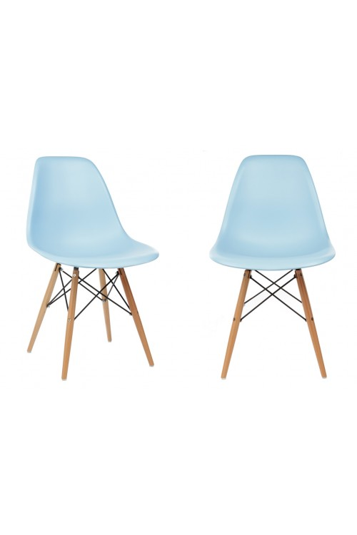 Set of 2 DSW Molded Light Blue Plastic Dining Shell Chair with Wood Eiffel Legs