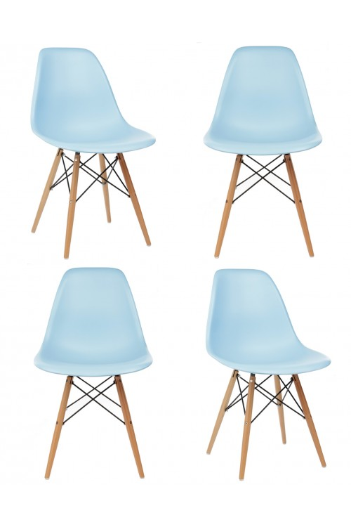 Set of 4 Eames Style DSW Molded Light Blue Plastic Dining Shell Chair with Wood Eiffel Legs