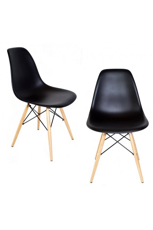 Set of 2 DSW Molded Black Plastic Dining Shell Chair with Wood Eiffel Legs