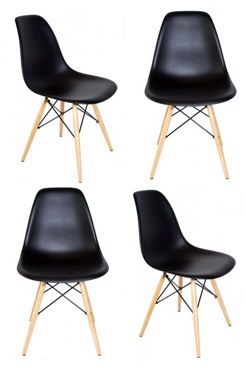 Set of 4 Eames Style DSW Molded Black Plastic Dining Shell Chair with Wood Eiffel Legs
