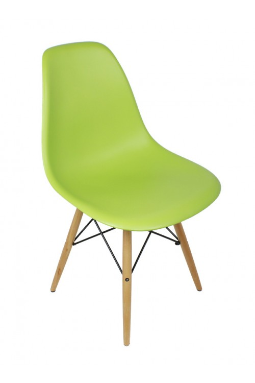 DSW Molded Lime Green Plastic Dining Shell Chair with Wood Eiffel Legs