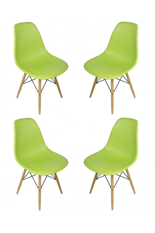 Set of 4 Eames Style DSW Molded Lime Green Plastic Dining Shell Chair with Wood Eiffel Legs