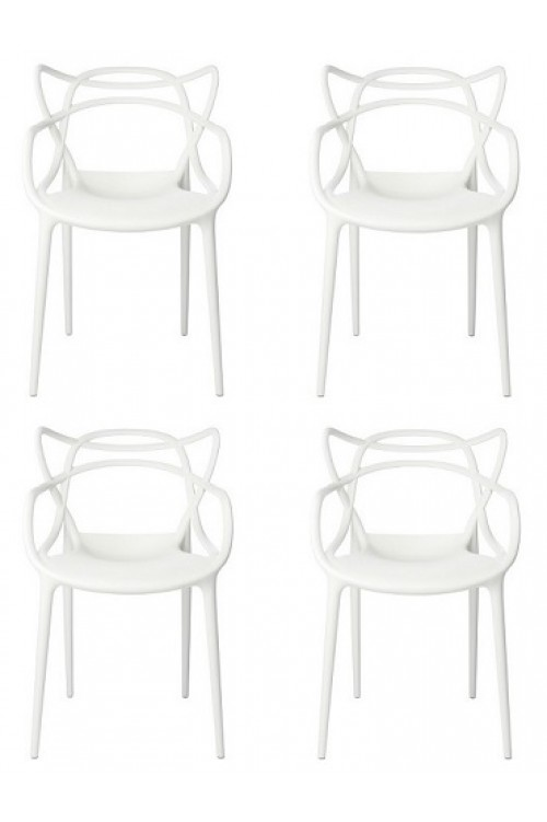 Set of 4 Modern Masters Designer Dining Chair In White