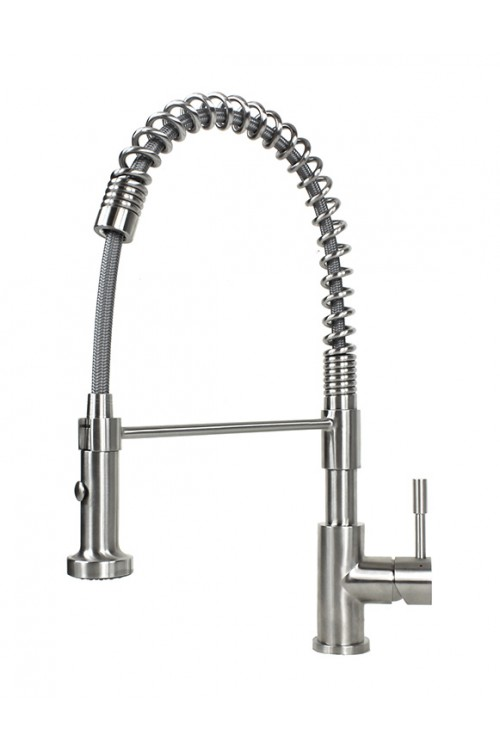 Ariel Coil Spring Solid Stainless Steel Lead Free Single Handle Pull Out Sprayer Kitchen Faucet