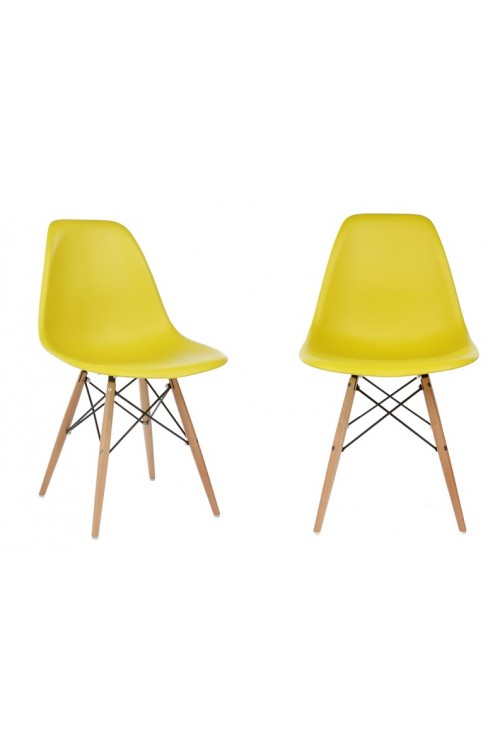 Set of 2 Eames Style DSW Molded Dark Yellow Plastic Dining Shell Chair with Wood Eiffel Legs