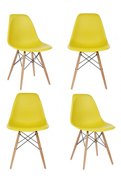 Set of 4 DSW Molded Dark Yellow Plastic Dining Shell Chair with Wood Eiffel Legs