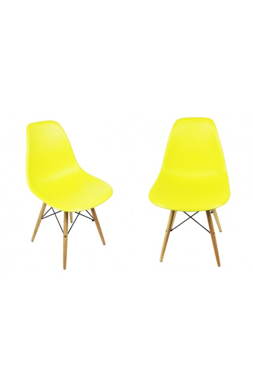 Set of 2 Eames Style DSW Molded Light Yellow Plastic Dining Shell Chair with Wood Eiffel Legs