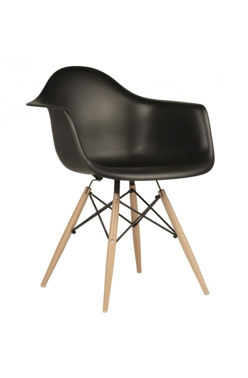 Eames Style DAW Molded Black Plastic Dining Armchair with Wood Eiffel Legs