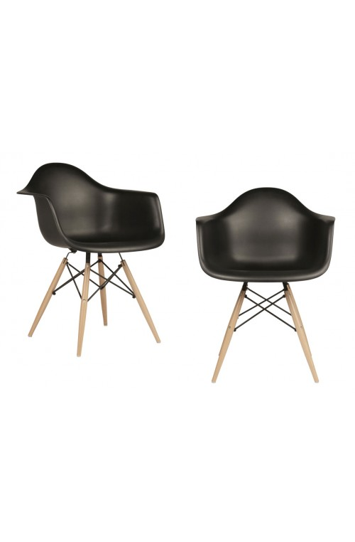 Set of 2 Eames Style DAW Molded Black Plastic Dining Armchair with Wood Eiffel Legs