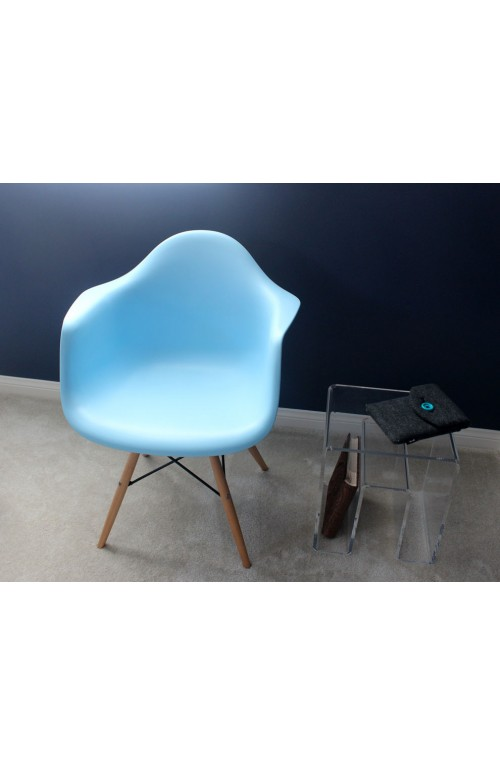 Eames Style DAW Molded Light Blue Plastic Dining Armchair with Wood Eiffel Legs