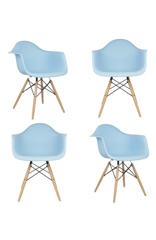 Set of 4 Eames Style DAW Molded Light Blue Plastic Dining Armchair with Wood Eiffel Legs