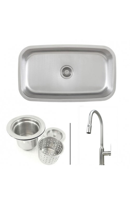 30 Inch Stainless Steel Single Bowl Kitchen Sink and Lead Free Faucet Combo - 18 Gauge