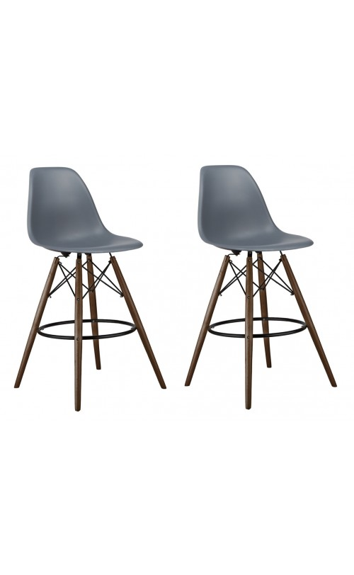 Set of 2 26 Inch Dark Gray Eames Style DSW Counter Stool with Dark Walnut Wood Eiffel Legs