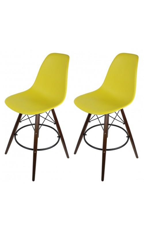 Set of 2 Dark Yellow DSW 26 Inch Counter Stool with Dark Walnut Wood Eiffel Legs