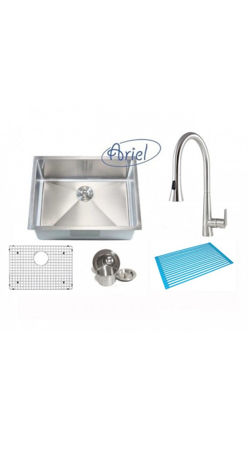 Ariel 26 Inch Single Bowl 15mm Radius Design Kitchen Sink and Eclipse Design Stainless Steel Faucet Combo