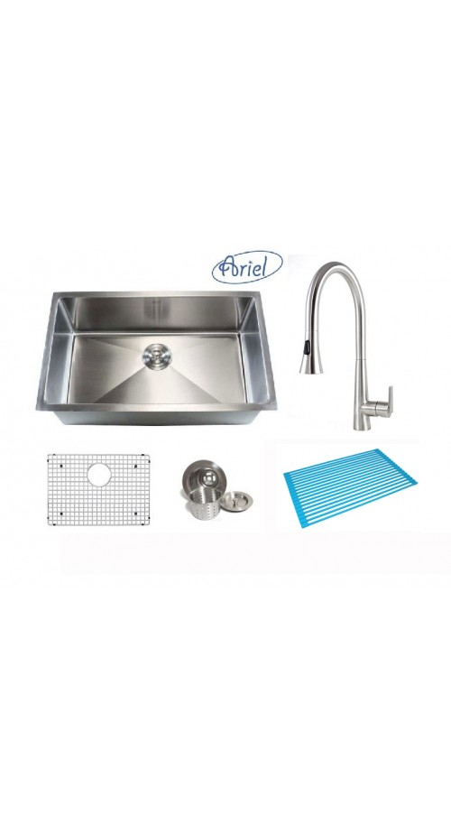 Ariel 30 Inch Single Bowl 15mm Radius Design Kitchen Sink and Eclipse Design Stainless Steel Faucet Combo