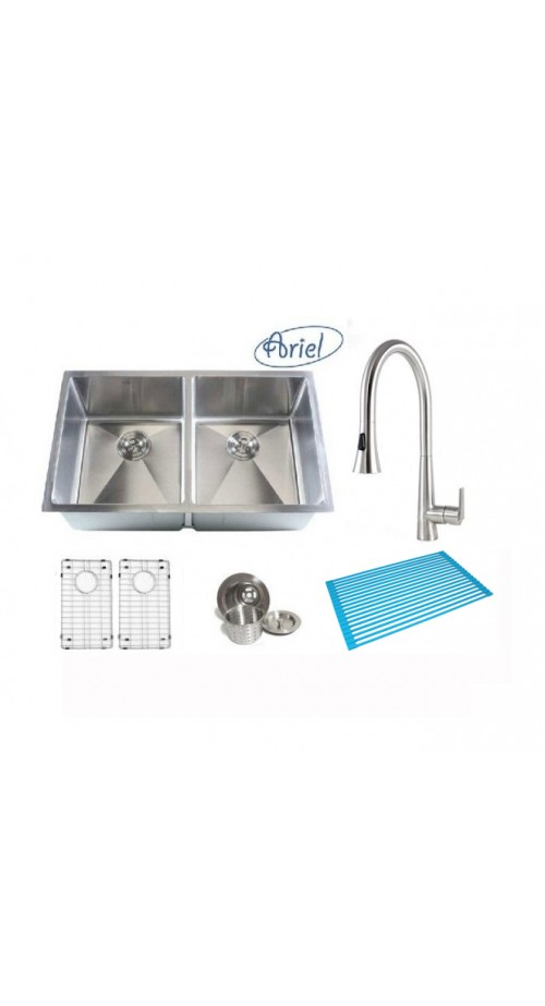 Ariel 32 Inch 50/50 Double Bowl 15mm Radius Design Kitchen Sink and a Eclipse Design Stainless Steel Faucet Combo