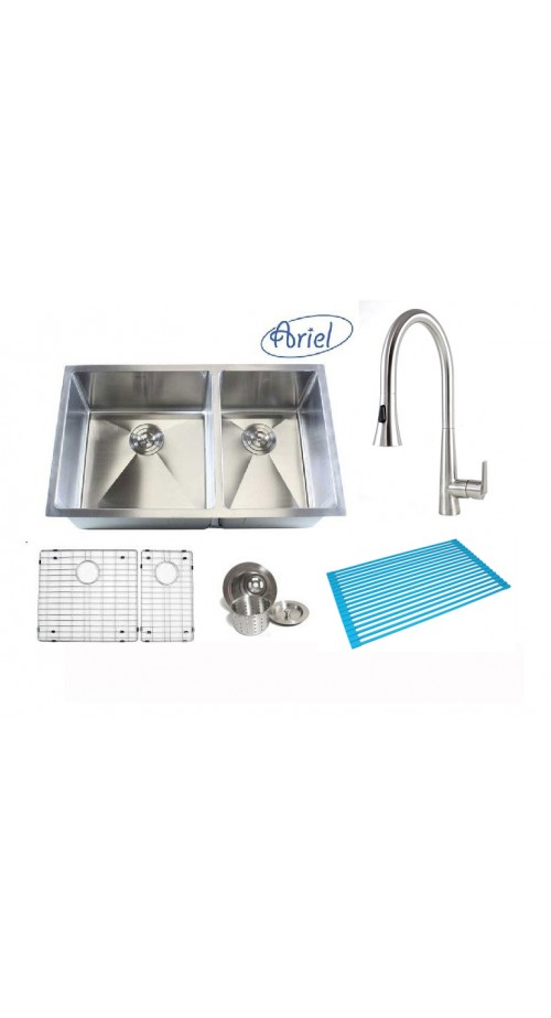 Ariel 32 Inch 60/40 Double Bowl 15mm Radius Design Kitchen Sink and Eclipse Design Stainless Steel Faucet Combo