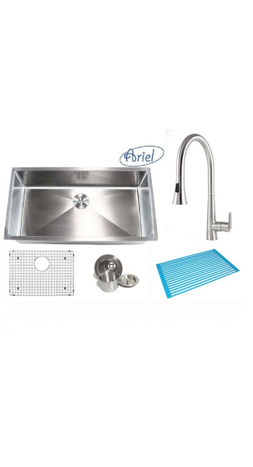 Ariel 36 Inch Single Bowl 15mm Radius Design Kitchen Sink and a Eclipse Design Stainless Steel Faucet Combo