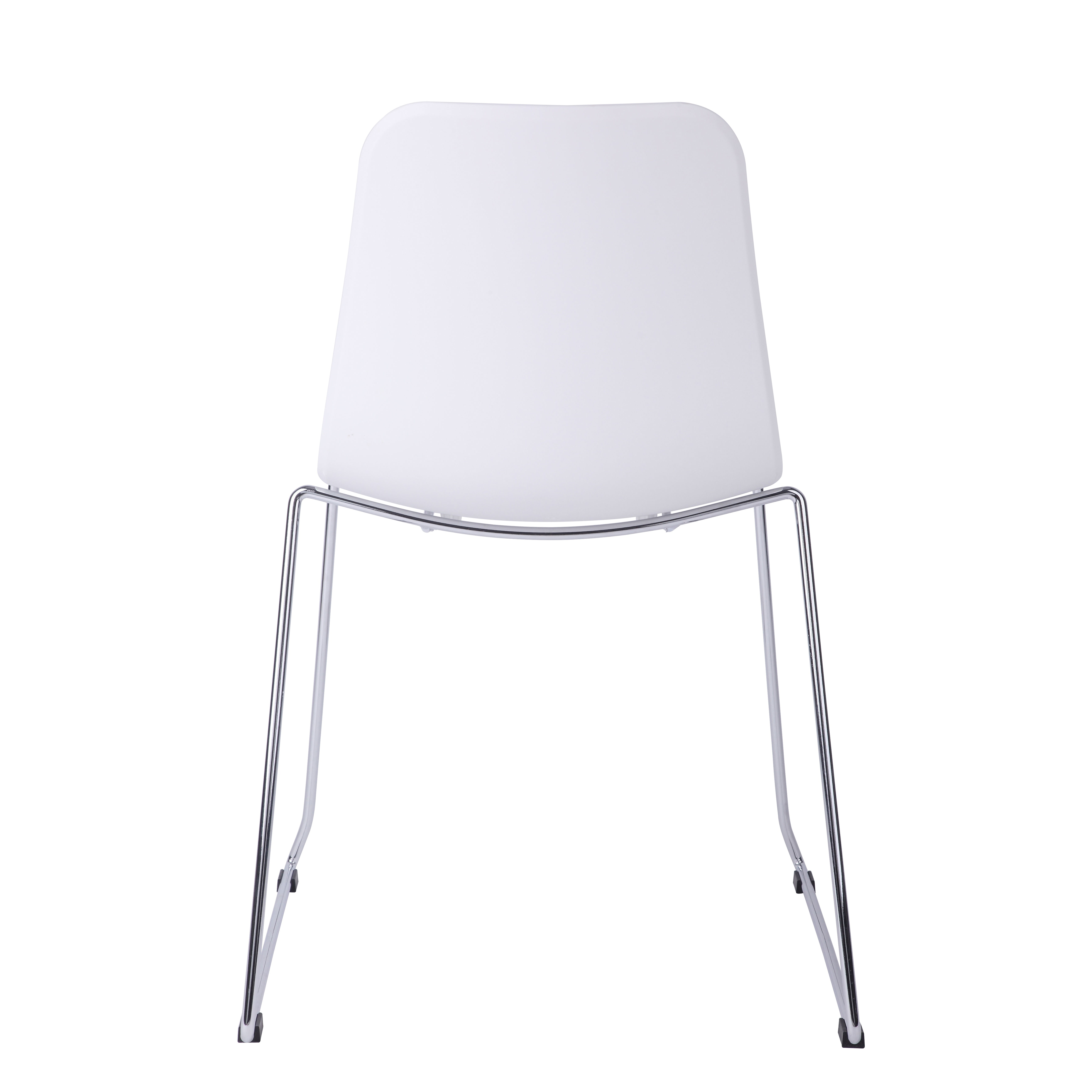 Hebe Series White Dining Shell Side Chair Molded Plastic Steel