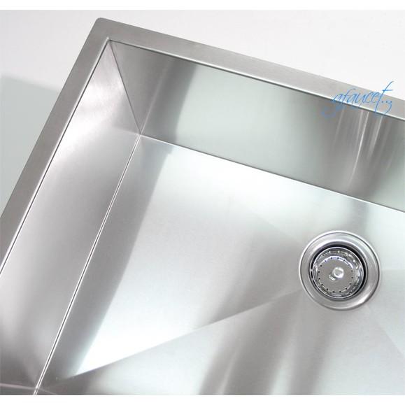 Inch Single Bowl Undermount Zero Radius Kitchen Bar Island Sink