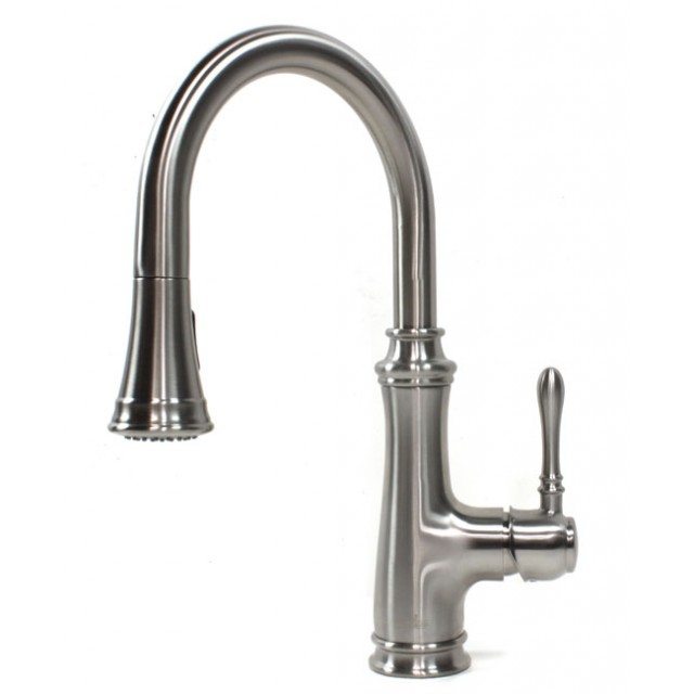 Allora Chess Design Lead Free Brushed Nickel Kitchen Faucet With Pull Out  Sprayer