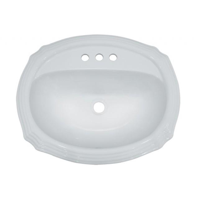 Porcelain Ceramic Vanity Drop In Bathroom Vessel Sink   22 15/16 X 19 3/8 X  6 3/4 Inch