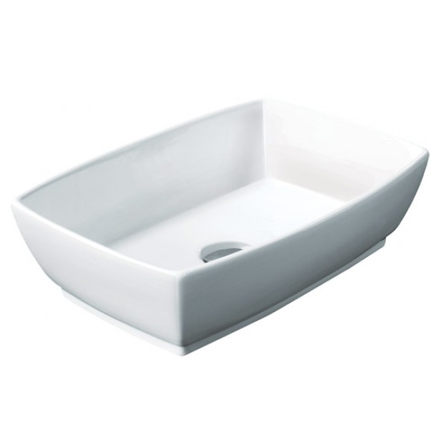 Rectangular White / Black Porcelain Ceramic Countertop Bathroom Vessel Sink    18 3/4 X 13 1/2 X 5 1/2 Inch